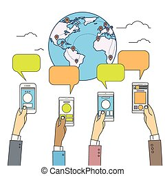 Social Media Communication World Globe Map Concept Internet Network Connection