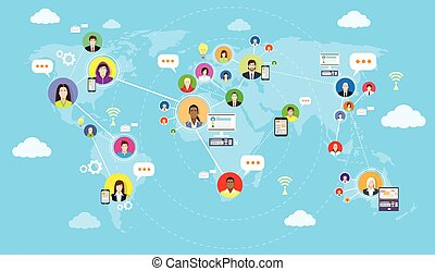 Social Media Communication World Map Concept Internet...
