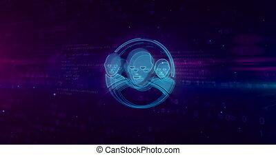 Social media communications in cyberspace symbol on digital...