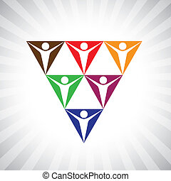 social media community people as pyramid network- simple vector graphic. This illustration can also represent employee diversity, people supporting each other, united workers, people community, etc