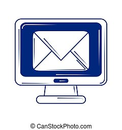 social media computer email marketing blue line fill style