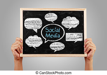 Social Media Concept Blackboard With Hands