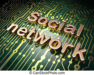 Social media concept: circuit board with word Social Network, 3d render