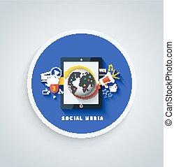 Social media concept. Cloud of application icons