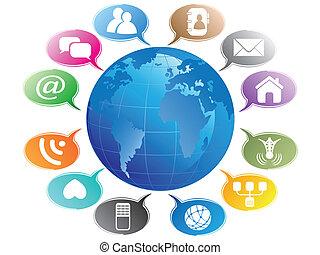 Social Media concept-Communication Globe