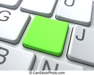 Social Media Concept. Green Blank Button on Keyboard.