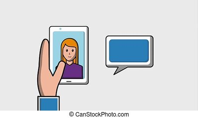 social media concept - hand holding mobile phone woman on...