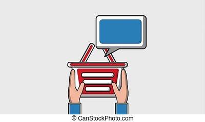 social media concept - hand holding shopping basket speech...