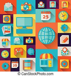Social media concept illustration in flat design style.