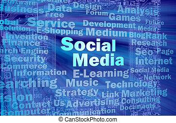 Social media concept in blue virtual space