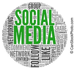 Social media concept in tag cloud