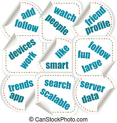 Social media concept in word tag stickers