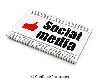 Social media concept: newspaper with Social Media and Thumb Up