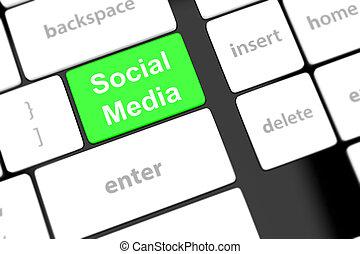 Social media concept on keyboard background