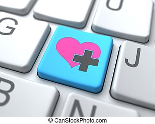 Social Media Concept. Online Love Button on Keyboard.