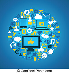 Social media concept - Round social media concept - vector ...