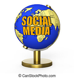 Social media concept - Social media globe white background