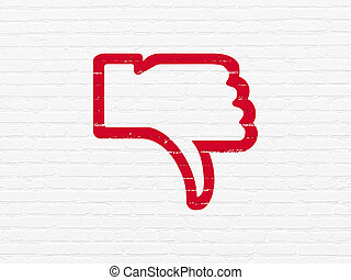 Social media concept: Thumb Down on wall background - Social...