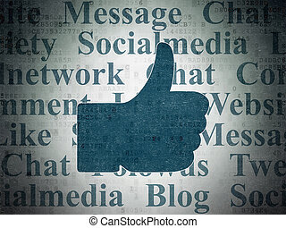 Social media concept: Thumb Up on Digital Data Paper background