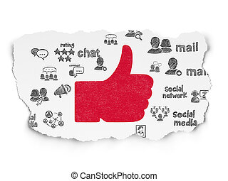 Social media concept: Thumb Up on Torn Paper background