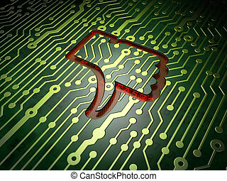 Social media concept: Unlike on circuit board background