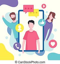 Social media concept. Vector illustration. Modern flat design graphic elements