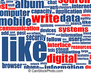 Social media concept with internet related words