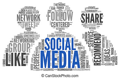 Social media conept in word tag cloud - Social media concept...