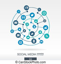 Social media connection concept. Abstract background with integrated circles and icons for network technology concepts.