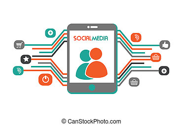 Social media design over white background, vector...