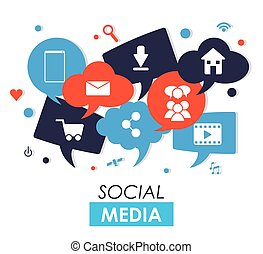 Social media design - Social media concept with icon design,...
