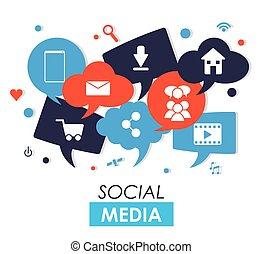 Social media design - Social media concept with icon design...