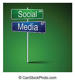 Social media direction road sign.