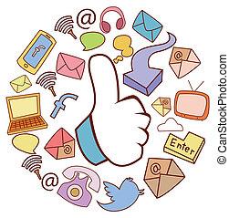 Social Media Doodle Circle Banner