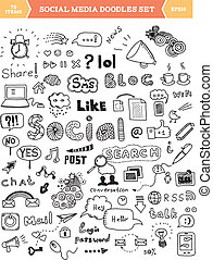 Hand drawn vector illustration of social media doodles elements. Isolated on white background.