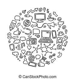 Social media doodles set