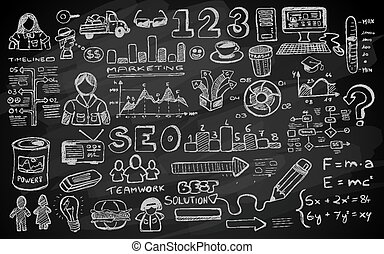 Social Media doodles Sketch set with infographics elements isolated