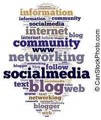 Social media. - Illustration with word cloud on social media
