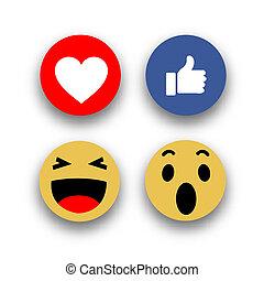 Social media face reaction emojis flat icons