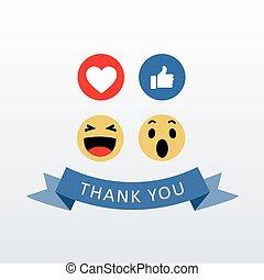 Social Media Face Reaction Emojis with thank you