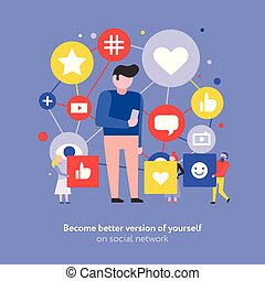 Social Media Flat Composition