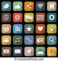 Social media flat icons with long shadow