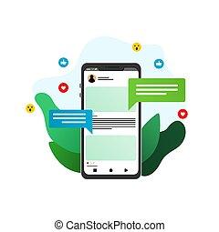 social media flat illustration 2