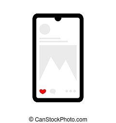 Social media flat smartphone illustration