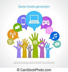 Social media generation, vector poster