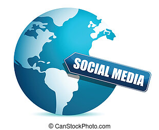 social media globe illustration