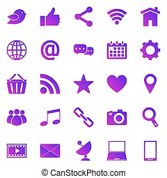 Social media gradient icons on white background