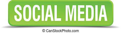 Social media green 3d realistic square isolated button