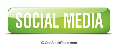 social media green square 3d realistic isolated web button