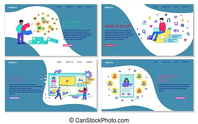 Social media guidelines to make social skills more efficient. Male and female characters are working on social appearence. Website, web page, landing page template. Flat cartoon vector illustration